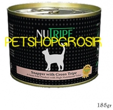 MAKANAN KUCING GRAIN FREE NUTRIPE CLASSIC SNAPPER & GREEN LAMB TRIPE FORMULA CAT FOOD 185 GRAM