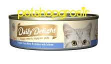 DAILY DELIGHT HAPPY MEALS HAPPIERS PETS SKIP JAKE TUNA WHITE & CHICKEN WITH SALMON 80GRAM