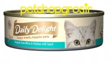 DAILY DELIGHT HAPPY MEALS HAPPIERS PETS SKIP JAKE TUNA WHITE & CHICKEN WITH SQUID 80GRAM