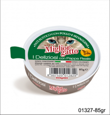 MAKANAN BASAH KUCING MIGLIOR GATTO I DELIZIOSI PATE WITH CHICKEN & GAME 85gr