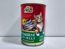 Makanan Basah Kucing Pet8 Sardine in Jelly 400gr